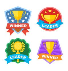 achievement champ and contest logo set vector image