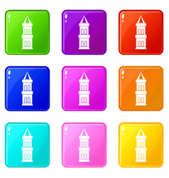 Castle tower icons 9 set vector