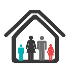 color pictogram with family in home vector image