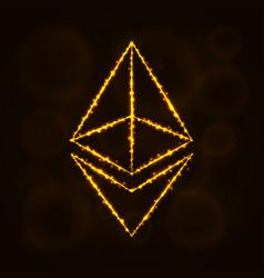 ethereum digital currency silhouette of lights vector image