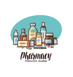 pharmacy drugstore label medical supplies vector image vector image