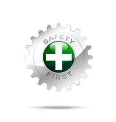 Safety first symbol on gear icon vector image vector image