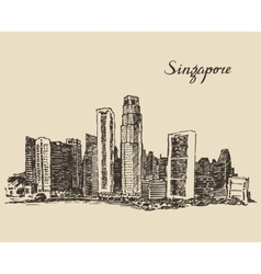Singapore architecture hand drawn sketch vector