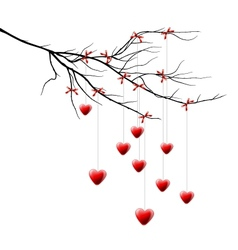 Valentine background branch with hearts vector image vector image