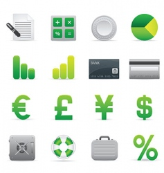 green finance icons vector image vector image