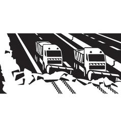 Snow plow trucks clear highway vector image