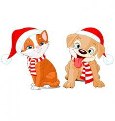 very merry puppy and kitten vector image vector image