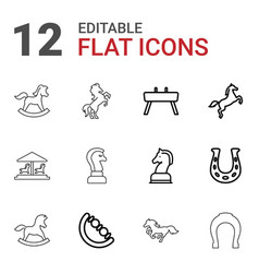 12 horse icons vector
