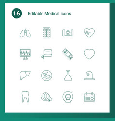 16 medical icons vector image