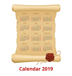 2019 calendar on scroll week starts sunday vector