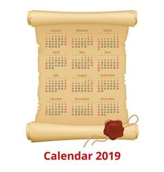 2019 calendar on scroll week starts sunday vector image