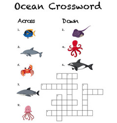 A ocean crossword game template vector