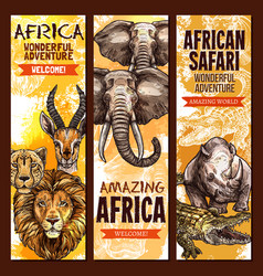African safari outdoor adventure sketch banner set vector