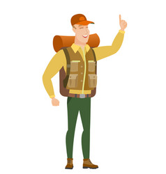 african traveler pointing with his forefinger vector image