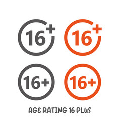 Age rating 16 plus movie icon under 16 years sign vector