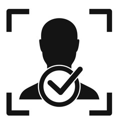 approved face recognition icon simple style vector image