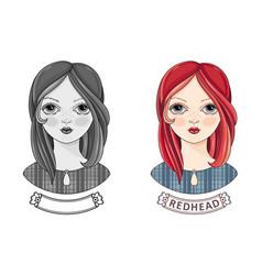 Avatar beautiful redheaded girl kinky teen vector