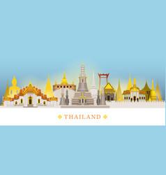 Bangkok thailand temple landmarks skyline vector
