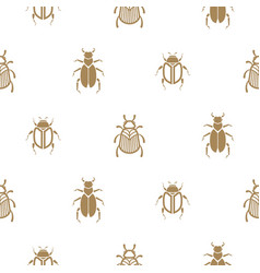 beetle gold and white seamless pattern vector image