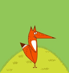 Big red fox tail angrily funny cartoon style stand vector