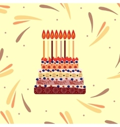 Birthday cake with eight candles Eight years vector image