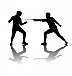 black silhouettes of athletes fencers vector image