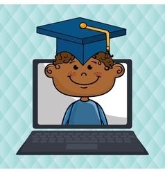 boy laptop student cap vector image vector image