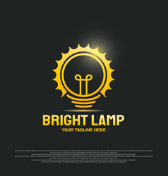 Bright lamp logo design with bulb and gear vector