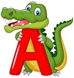 Cartoon alligator with alphabet A vector