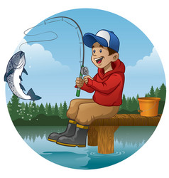 Cartoon boy enjoying fishing in the lake vector