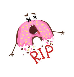Cartoon half-eaten donut with pink glaze and vector