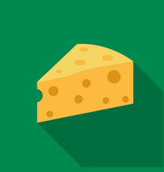 Cheese icon flat single bio eco organic product vector