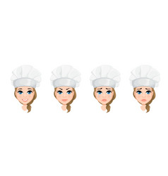 chef woman face with various emotions set cute vector image