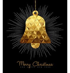 Christmas and New Year gold decoration bell vector image