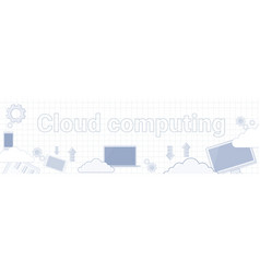 cloud computing text on squared notebook paper vector image vector image