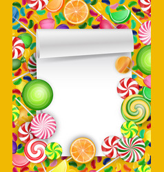 colorful candy background with lollipop and orange vector image