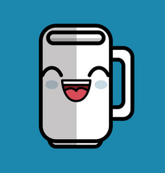 Cup coffee character icon vector