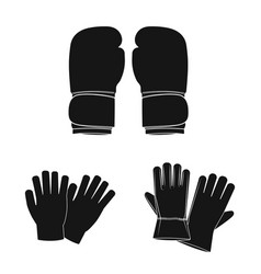 design of glove and winter logo set of vector image