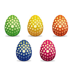 easter eggs painted with polka dots vector image