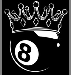 eight ball pool crown silhouette in black vector image
