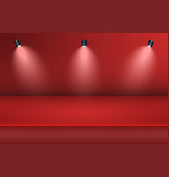 empty studio room background with spotlight red vector image