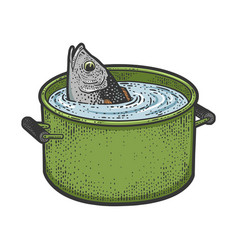 Fish peeks out a pot water sketch vector