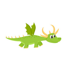 flat cartoon dragon kid with horns wings vector image