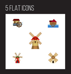 Flat icon alternative set of watermill windmill vector