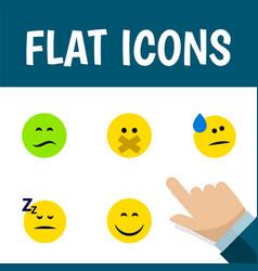 Flat icon emoji set of asleep hush tears and vector