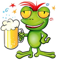 Frog cartoon with schooner beer vector