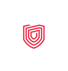 geometric shield logo icon line outline monoline vector image