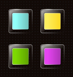 glassy square icons on black vector image