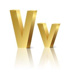 Golden letter v vector