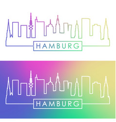 hamburg skyline colorful linear style editable vector image